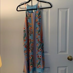 High neck blue floral dress